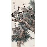 朱祖义 四尺《松鹤万寿图》 中国老子书画院副院长