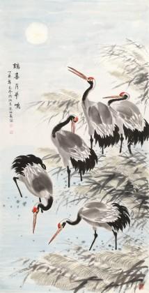 朱祖义 四尺国画仙鹤《鹤喜丹华鸣》 中国老子书画院