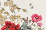 【已售】梁景欣 四尺斗方《花开富贵》 青大美院学院派画家