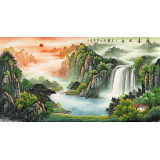 吴东 六尺《源远流长》 著名易经风水画家