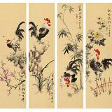 皇甫小喜 四条屏《鸡鸣四季》 河南著名花鸟画家