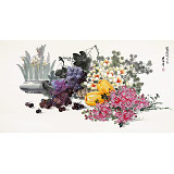 朝鲜一级画家金贤珠 四尺《瓜果飘香》