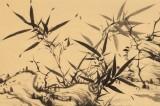 吴显刚 四尺对开《竹石图》 贵州七星关美协主席