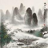 张慧仁 四尺斗方《烟雨江南》 广西山水画家协会常务理事