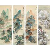 何实 四条屏《四时佳兴》吉林著名山水画家