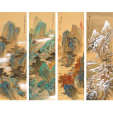 【已售】何实 四条屏《春夏秋冬》吉林著名山水画家