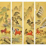 凌雪 四条屏《跃马争春》 北京美协会员