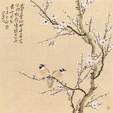 【已售】皇甫小喜 四尺斗方《白梅双雀图》 河南著名花鸟画家