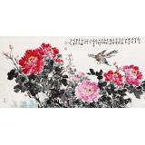 曲逸之 四尺《国色天香》  河南省著名花鸟画家