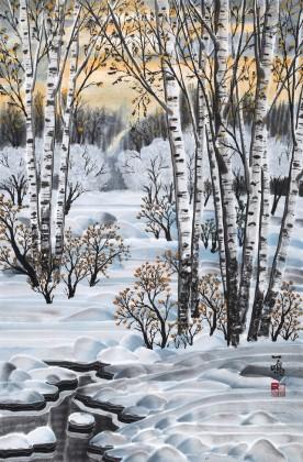 何一鸣 四尺三开《雪后初霁》 冰雪画派画家 师从于志学