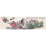 曲逸之 六尺对开《春思》 河南省著名花鸟画家