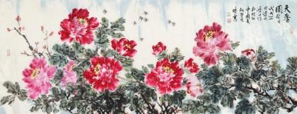 曲逸之 小六尺《天香图》 河南省著名花鸟画家图片