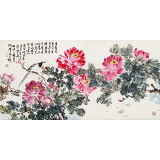 曲逸之 四尺《云想衣裳花想容》 河南省著名花鸟画家