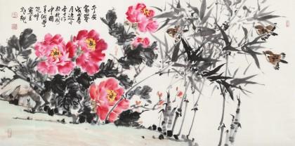 曲逸之 四尺《平安富贵》 河南省著名花鸟画家图片
