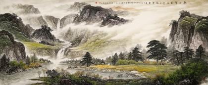 【已售】李碧峰 小八尺《春山聚富水》 中国书画家协会理事