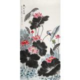 朱祖义 四尺荷花图《香远溢清》 中国老子书画院副院长