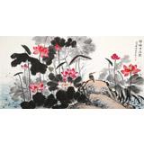 朱祖义 四尺荷花图《荷塘清逸图》 中国老子书画院副院长