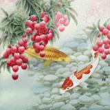 赵逸梅 四尺斗方《双鱼大利图》 著名工笔画家