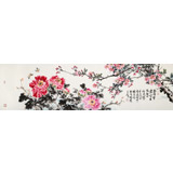 【已售】曲逸之 六尺对开《含香带露》 河南省著名花鸟画家