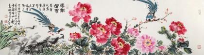 曲逸之 六尺对开《花开富贵》 河南省著名花鸟画家图片