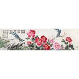 曲逸之 六尺对开《花开富贵》 河南省著名花鸟画家