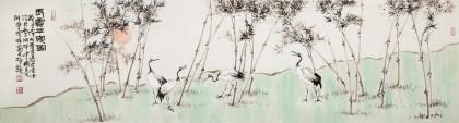 曲逸之 六尺对开《长寿平安图》 河南省著名花鸟画家
