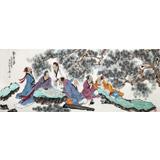 【已售】南海禅寺 妙林居士小六尺《对弈图》
