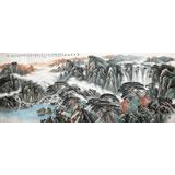 中国书画家协会理事李碧峰 小八尺《登高望远图》