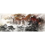 李碧峰 小八尺《秋山鸣泉图》 中国书画家协会理事