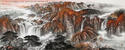 【已售】李碧峰 小八尺《 秋山听泉图》 中国书画家协会理事