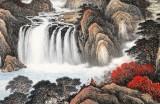 蒋元发 小六尺《源远流长》 广西著名山水画家