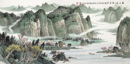 廖崧越 四尺《家山处处画屏中》 广西桂林美协会员