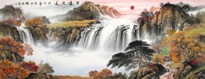 【已售】杨铭昌 小六尺《源远流长》 安徽山水画研究协会理事