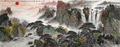 【已售】刘爱成 小六尺《江山如画》鸿运当头风水画