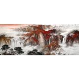 李碧峰 小八尺《 秋山饮马图》 中国书画家协会理事