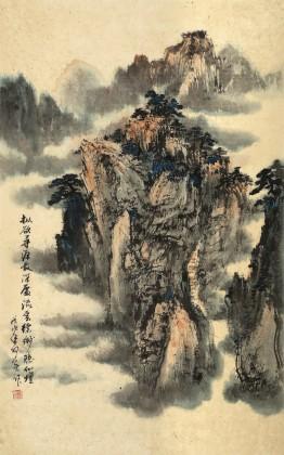 何实 四尺三开《流云缥缈隐仙坛》 吉林著名山水画家