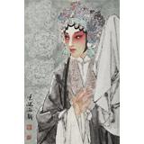 梁健 画戏《国色天香》 当代百杰画家 中美协会员 代表作花旦题材