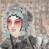梁健 画戏《俏花旦》 当代百杰画家 中美协会员 代表作花旦题材