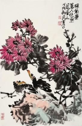 柳常学 四尺三开《采菊东篱下》 中国书画家协会理事