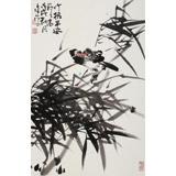 柳常学 四尺三开《竹报平安》 中国书画家协会理事