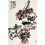 柳常学 四尺三开《多子多福图》 中国书画家协会理事