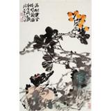 柳常学 四尺三开《满树黄金挂枝头》 中国书画家协会理事