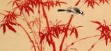 【已售】皇甫小喜 四尺对开《竹报平安》 河南著名花鸟画家