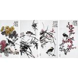 【已售】柳常学 四条屏《梅兰竹菊》 中国美协会员