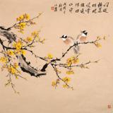 【已售】皇甫小喜 四尺斗方《梅中双雀》 河南著名花鸟画家