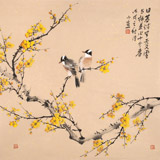 【已售】皇甫小喜 四尺斗方《与梅并作十分春》 河南著名花鸟画家