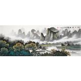 张慧仁 小六尺《江上云起》 广西山水画家协会常务理事