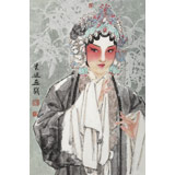 梁健 《清风》 当代百杰画家 中美协会员 代表作花旦题材