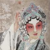 梁健 《菊香》 当代百杰画家 中美协会员 代表作花旦题材