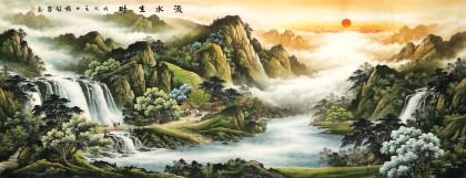 【已售】杨铭昌 小八尺《流水生财》 安徽山水画研究协会理事